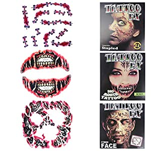Aniwon 3 Sheets Temporary Tattoo Creative Scary Body Art Sticker for Halloween