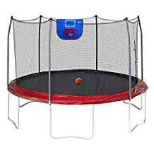Skywalker Trampolines Jump N' Dunk with Safety Enclosure and Basketball Hoop, Red, 12-Feet