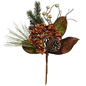 A & B Floral Hydrangea Pine Pinecone Copper Gold 21 inch Artificial Christmas Flower Spray 112