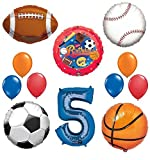 The Ultimate Sports Theme 5th Birthday Party Supplies and Balloon Decorating Kit