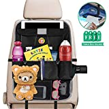 Car Back Seat Storage Organizer Waterproof Auto Seat Back Protector Cover, Burliest Oxford Fabric, 9 Pockets and 2 Hooks, Back of Seat Storing Kick Mat for Kids Toddlers, Free Visor Tissue Box Holder
