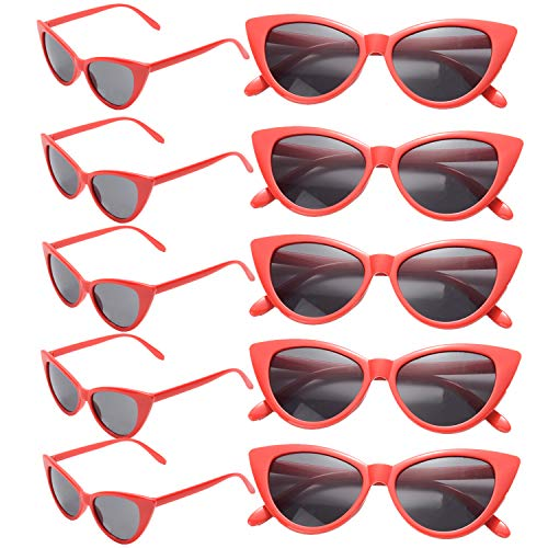 10 Pack Retro Vintage Narrow Cat Eye Sunglasses for Women Party Favors Clout Goggles Plastic Frame (Red cateye sunglasses) -