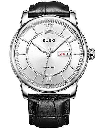 BUREI Men's Luminous Day and Date Automatic Watch with Black Calfskin Band, Silver Bezel White Dial (Band Bezel Wrist Watch)