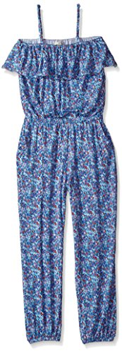 Jessica Simpson Big Girls' Maisie Printed Knit Romper, Water Cheetah, M (Fancy Kids Clothing)