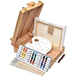 Artina Florenz Box Easel Artists Painting Set with 18 Acrylic Paints 6 Brushes & Canvas Art Table Easel with Supplies