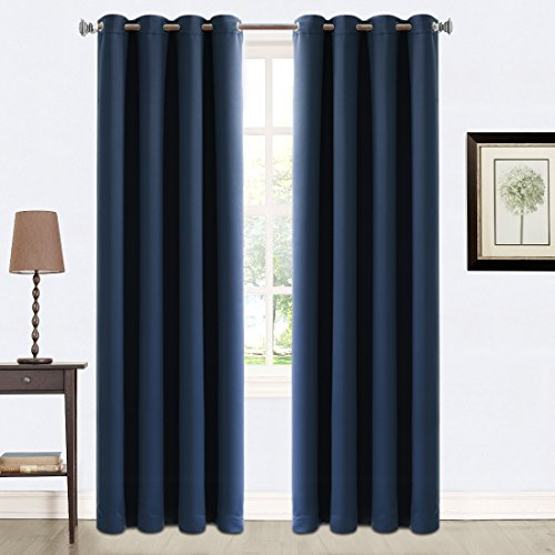 Balichun 2 Panles Blackout Curtains Thermal Insulated Grommets Drapes for Bedroom/ Living Room 52 by 84 Inch Navy