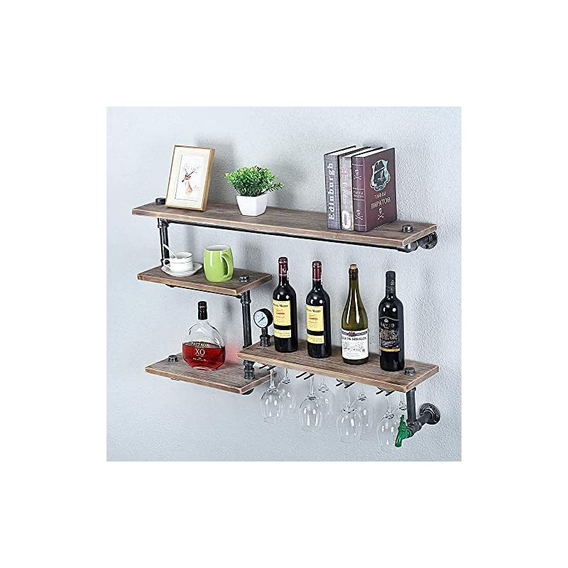 Industrial Pipe Shelf Wine Racks with 4 Stem Glass Holder,39.37in Rustic Metal Floating Bar Shelves Wall Mounted…
