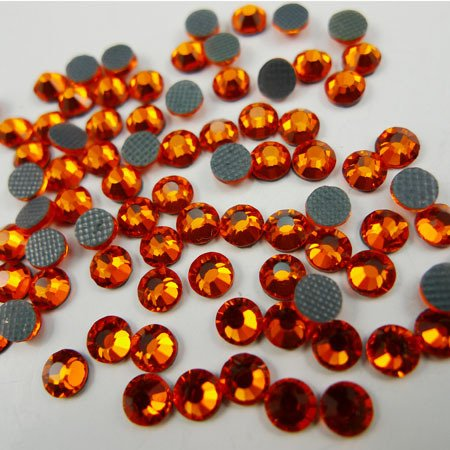 Orange Rhinestone (NEW ThreadNanny CZECH Quality 10gross (1440pcs) HotFix Rhinestones Crystals - 5mm/20ss, Hyacinth (Dark Orange) Color)