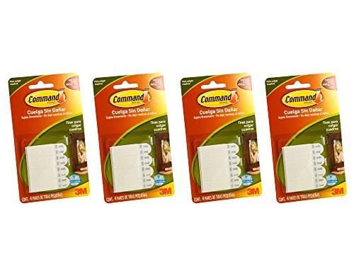 Command Small Picture Hanging Strips, White, 4 Strip, 4 Pack