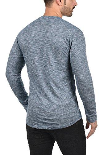 Larga Longsleeve solid De Básica Con Insignia 100 Hombre Camiseta Algodón Para Ligos Cuello Blue Manga 1991 Redondo qTwATXH