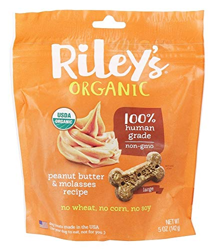 Rileys Organics, Dog Treat Peanut Butter Molasses Large Organic, 5 Ounce