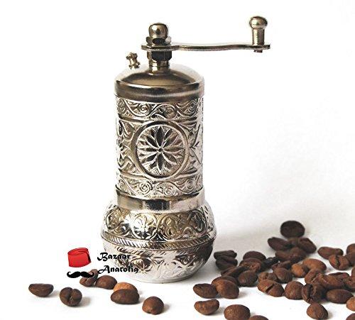 Bazaaranatolia Turkish Grinder, Spice Grinder, Salt Grinder (Silver)