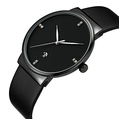 Mens Watches Slim Men Watch Quartz Watch Black Leather Strap Men Wristwatches Watch