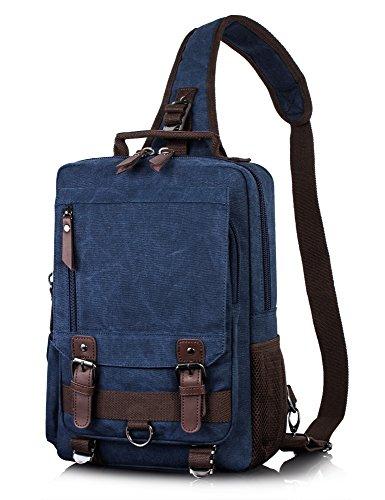 H Hikker-Link Mens Canvas Messenger Bag Laptop Sling Backpack Dark Blue Vintage ()