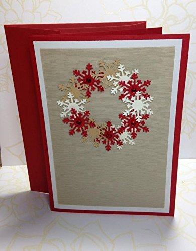 Amazon Com Textured Cardstock Snowflake Christmas Card Handmade