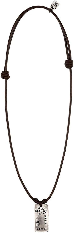 Uno de 50 COL0738MARMTL0U - Cadena con colgante para hombre (38 cm, piel bañada en plata)