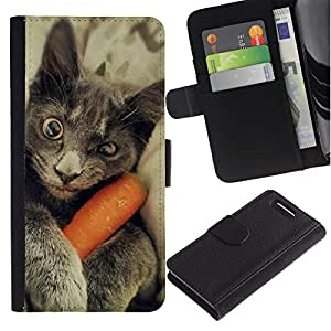 Chartreux Cat Russian Blue Funny Kitten - la tarjeta de Crédito Slots PU Funda de cuero Monedero caso cubierta de piel Sony Xperia Z3 Compact