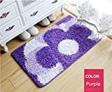 Cheap Ustide Elegant Floral Door Mat Durable Acrylic Rugs Antislip Kitchen Area Rug Purple Flower Bedroom Floor Mat 19″X31″