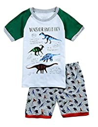 "Babylike""dinosaur"" boys and girls shorts 2 Piece Pajama 100% Cotton(size:2-7 years)"