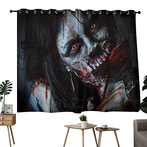 NUOMANAN Decor Curtains by Zombie Decor,Scary Dead Woman with Bloody Axe Evil Fantasy Gothic Mystery Halloween Picture,Multicolor,Living Room and Bedroom Multicolor Printed Curtain Sets 42