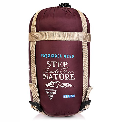 Forbidden Road Portable Sleeping Bag Single 15℃/ 60℉ (5 Colors) 380T Nylon Lightweight Water Resistent Envelope for Man Woman Camping, Hiking, Backpacking (Wine Red - Nylon, 15 ℃ / 60 ℉)