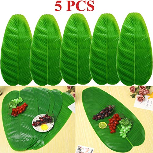 Linkhome 5 PCS Large Artificial Tropical Banana Leaves, 22 by 11inch,Hawaiian Luau Party Jungle Beach Theme Decorations for Table Decoration Accessories]()