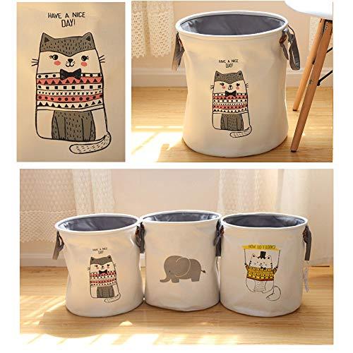 Cutepuppy Medium Round Storage Bin,Thicken Canvas Foldable Toy and Accessory Organizer Basket (Pink Cat)