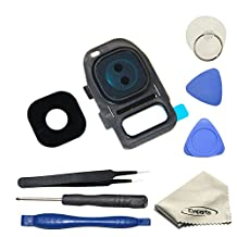 Ewparts True Glass Camera Lens Cover + Camera Ring Frame Repair Replacement for Samsung Galaxy S7 /S7 Edge (All Carriers)+opening Tools Color Black