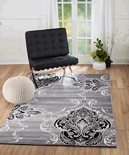 Summit KM-Y45D-DRXX New Elite ST52 Royal Damask Boroque Vintage Look Area Rug Grey White Black Many Sizes Available  (5 x 7 Actual Is 4'.10'' x 7'.2'')
