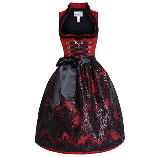 Midi Dirndl Rivera in Rot von Marjo Trachten, Größe:38;Farbe:Rot