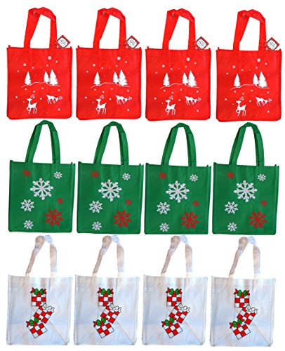 Non-Woven Fabric Holiday Gift Bags (12 Pack) 12x13x8.25 Four Asst Prints