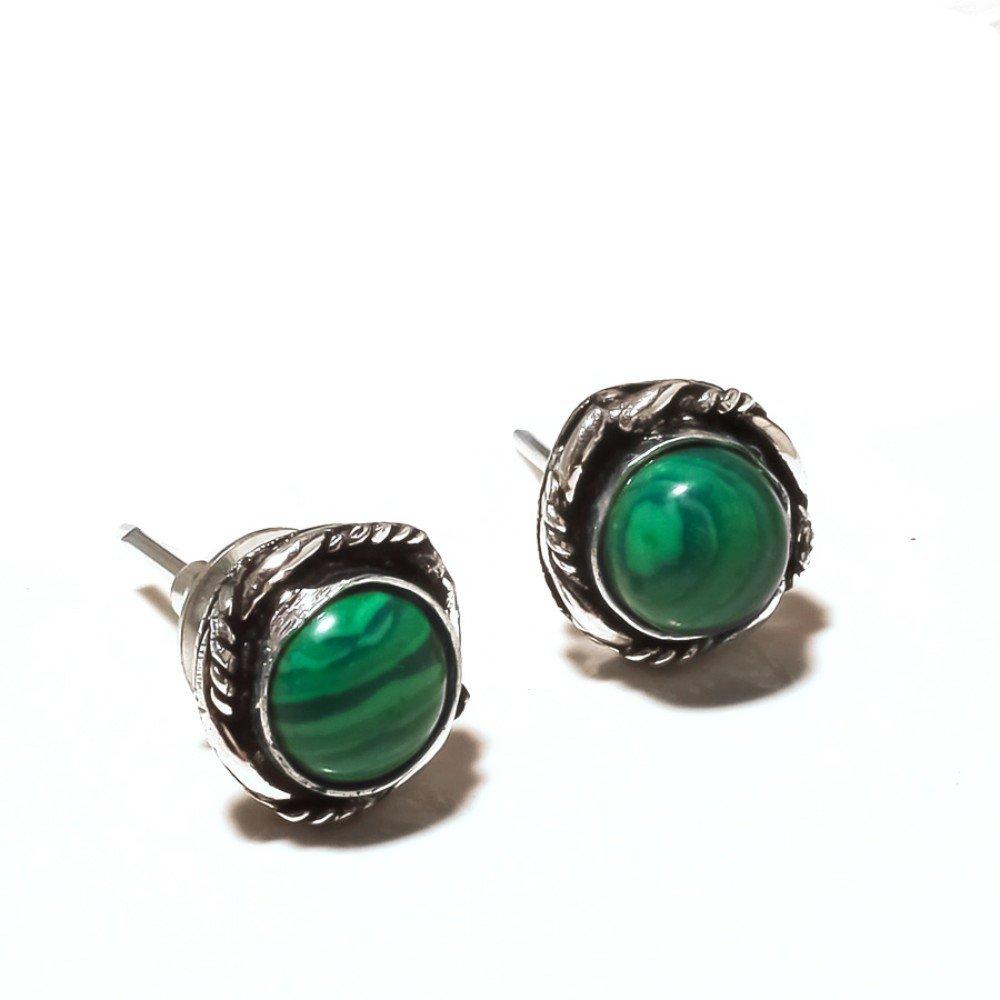 Desginer Green Malachite Sterling Silver Overlay 5 Grams Stud//Earring 12 mm