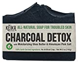 Charcoal Soap Bar with Shea Butter for Face, Acne, Eczema, Psoriasis | 100% All-Natural Vegan. Fragrance-Free. Non-GMO. Handmade. Facial Cleanser Black Soap for Oily Skin. 5 oz.
