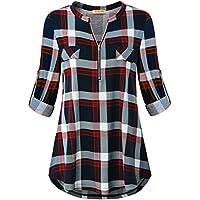 Baikea Women's 3/4 Rolled Sleeve Zipped V Neck Plaid Shirt Casual Tunic Blouses