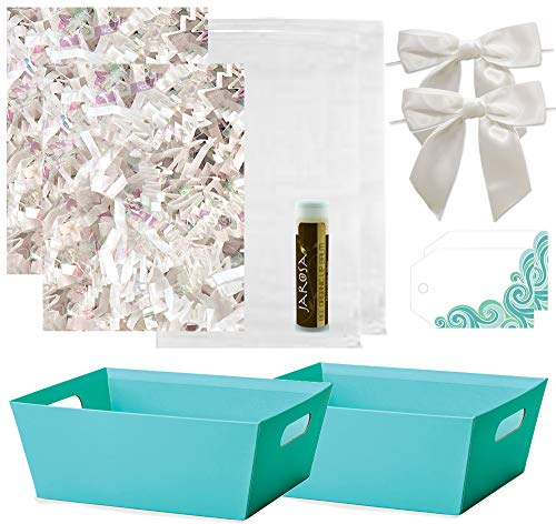 Pursito Gift Basket Making Kit Includes: Turquoise Teal Market Tray, Crinkle Cut Paper, Cellophane Bag, White Satin Bow & Gift Tag - 2 Total Sets for Kids, Easter & Birthday with Bonus Lip Balm