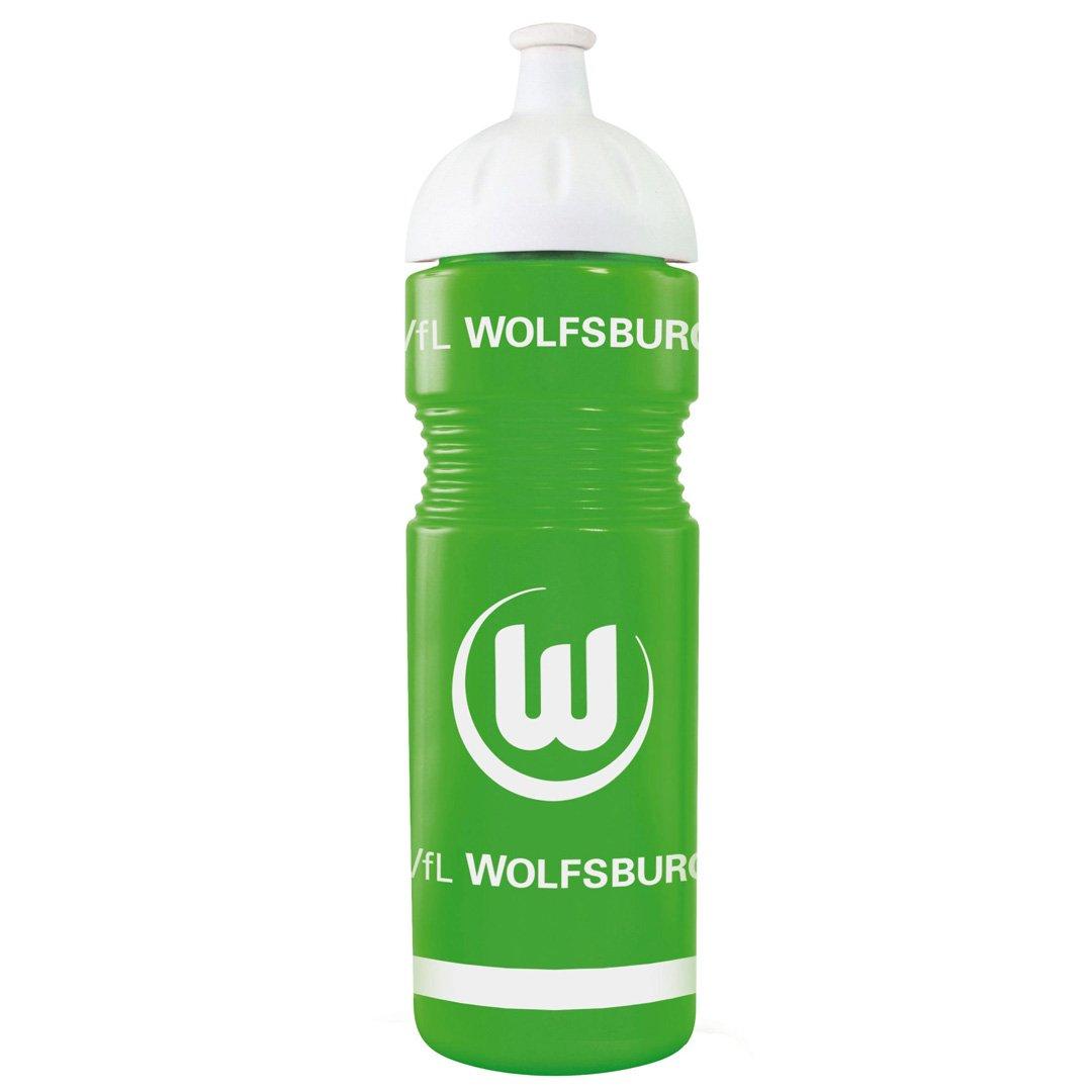 VfL Wolfsburg Trinkflasche aus Kunststoff grün mit großem VfL Wappen + Wolf ca 0, 75l Füllmenge MADE IN GERMANY Primary Vereinsbedarf