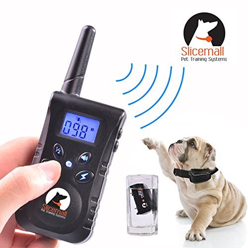 UPC 753210431279, Slicemall 500 Yards Rechargeable and Waterproof Remote Electric Dog Training Collar No Bark Control Collars Tone/Vibration/Shock Blue Backlight LCD For 15 To 120 Lbs Pets