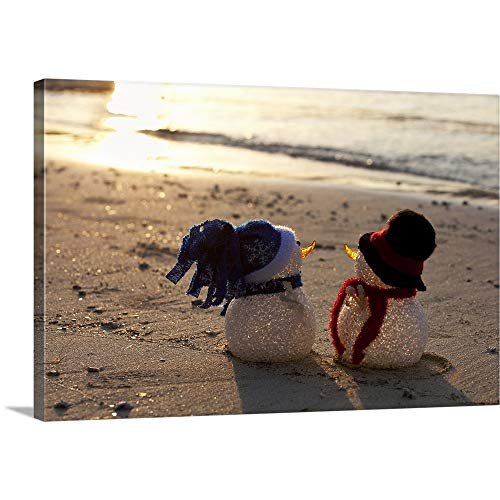 GREATBIGCANVAS Gallery-Wrapped Canvas Entitled Two Cute Snowmen on a Beach in The Caribbean by 60