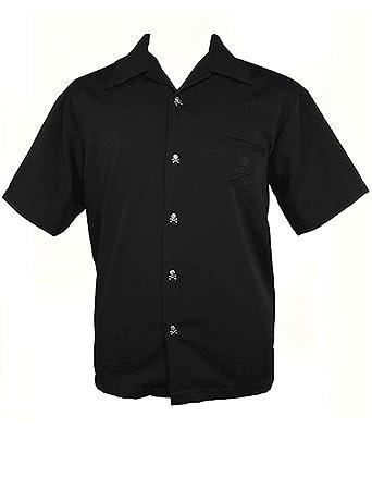 Amazon.com: Men's USA Made Rockabilly Black Skull Shirt ~ Metal ...