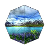 Flipped Summer Y Nature Beautiful Mountain Lake Flowers Customized Art Prints Umbrella
