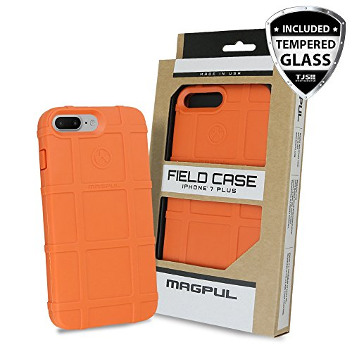 iPhone 7 Plus Case, iPhone 8 Plus Case, with TJS [Tempered Glass Screen Protector], Magpul [Field] MAG849 Polymer Case Cover Retail Packaging for Apple iPhone 7 Plus/iPhone 8 Plus (Orange)