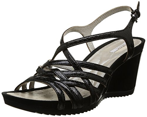 Geox D New Rorie A, Sandales compenses femme Noir (Black)