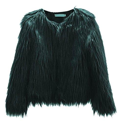 Mujeres Invierno Cálido Abrigo Corto Mujer Ropa Abrigo de piel sintética coreana lavar lana corto abrigo elegante chaqueta de manga larga, verde oscuro, Small Verde Oscuro