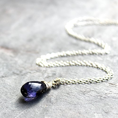 Iolite Necklace Teardrop Blue stone Sterling Silver Violet Gemstone Pendant Choice of Length ()