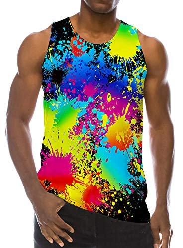 RAISEVERN Men's Athletic Training Tank Top Casual Bodybuilding Tee 3D Multicolored Paint Printed Graphic Popular Undershirts Summer T-Shirt ()