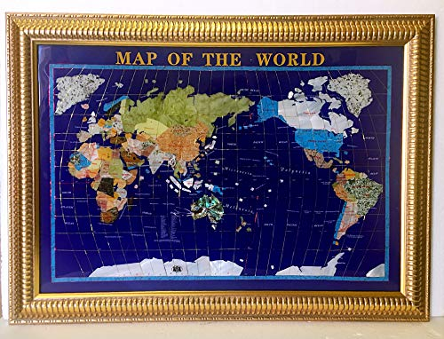 Unique Art Since 1996 650 Blue Lapis Ocean Gemstone World Map Board Frame