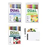 Tombow 72306 Limited Edition Dual Brush Pen Sets and Blending Palette. Three Sets of Blendable, Brush and Fine Tip Markers with Palette for Blending