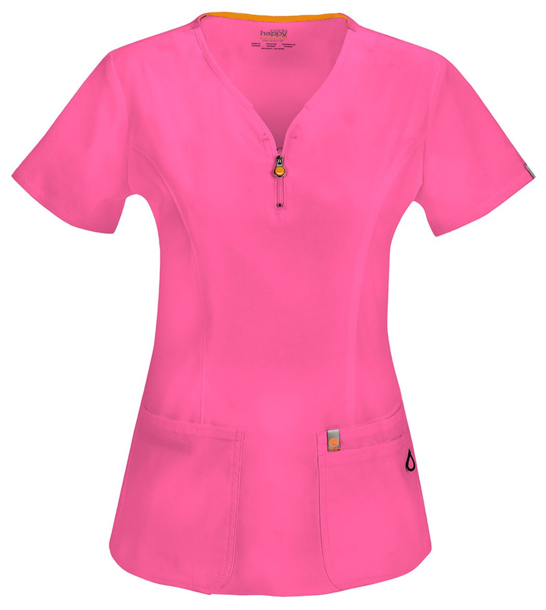 Code Happy Women's Medical Zipper V-Neck T-shirt_Shocking Pink_Small