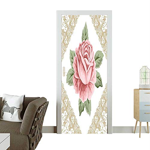 (Door Sticker Wall Decals V Tage Rose Petal Floret Shabby Pattern Light R EDA Green Easy to Peel and StickW38.5 x H77 INCH)
