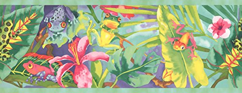 Wallpaper Border - WATERCOLOR RAINBOW RAINFOREST FROGS Prepasted Wall Border
